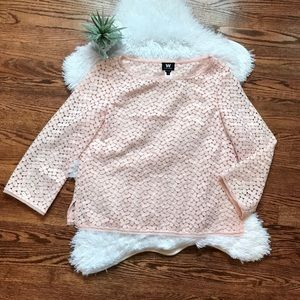 W by Worth pink floral crochet 3/4 sleeve top